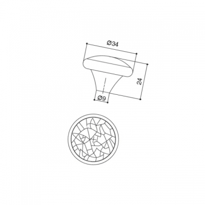 Ручка-кнопка, отделка железо KB-I-3687-34-I