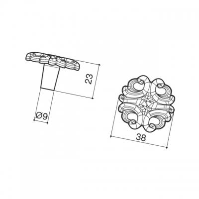 Ручка-кнопка, отделка серебро винтаж WPO.723Y.038.M00T4