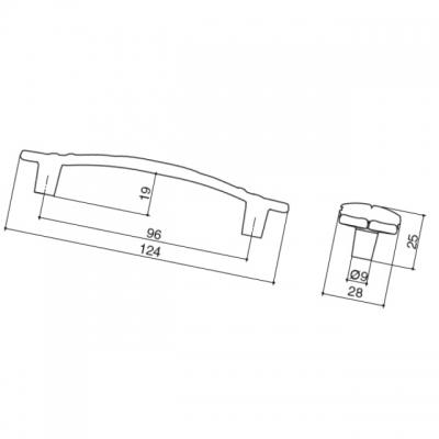 Ручка-скоба 96мм, отделка серебро винтаж WMN.723X.096.M00T4
