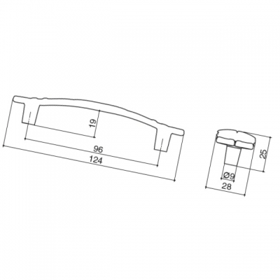 Ручка-скоба 96мм, отделка золото винтаж WMN.723X.096.M00T5
