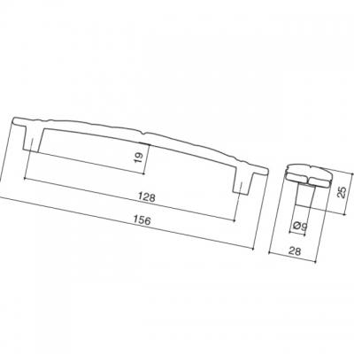 Ручка-скоба 128мм, отделка серебро винтаж WMN.723X.128.M00T4