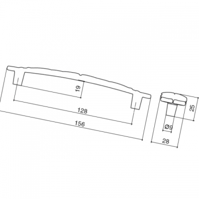 Ручка-скоба 128мм, отделка золото винтаж WMN.723X.128.M00T5