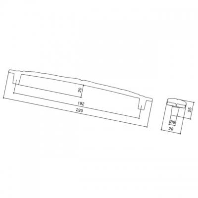 Ручка-скоба 192мм, отделка серебро винтаж WMN.723X.192.M00T4