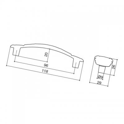 Ручка-скоба 96мм, отделка серебро винтаж + горный хрусталь WMN.724X.096.MKRT4