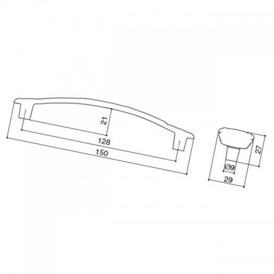 Ручка-скоба 128мм, отделка серебро винтаж + горный хрусталь WMN.724X.128.MKRT4