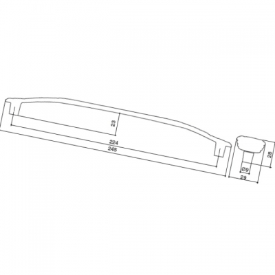 Ручка-скоба 224мм, отделка серебро винтаж + горный хрусталь WMN.724X.224.MKRT4