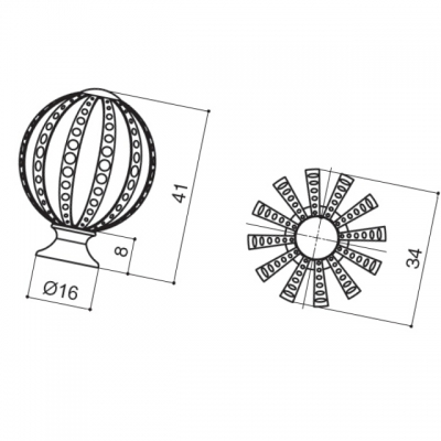 Ручка-кнопка, отделка хром глянец WPO.027Y.035.M0002