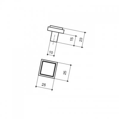 Ручка-кнопка, отделка хром глянец + кварц 060161WGP.142007
