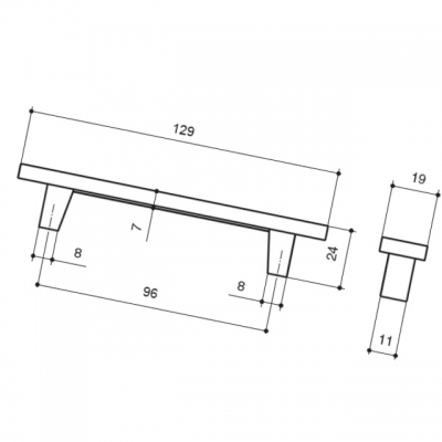 Ручка-скоба 96мм, отделка серебро люкс 060161WGP.059615