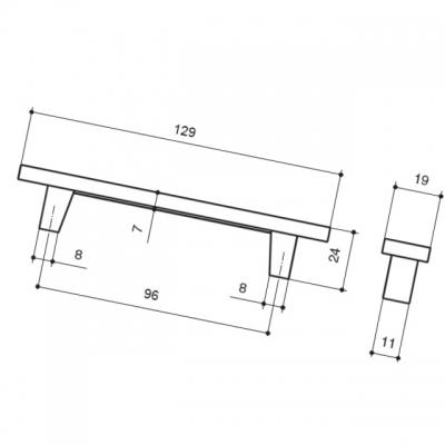 Ручка-скоба 96мм, отделка хром глянец + кварц 060161WGP.149607