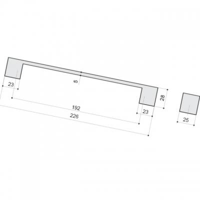 Ручка-скоба 192мм, отделка алюминий 00.1005.ZPI0000004