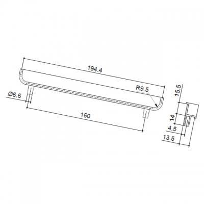 Ручка-скоба врезная 160мм, отделка сталь шлифованная 00.1246.ZIE0000007