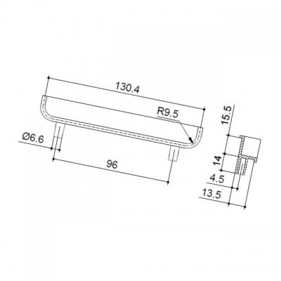 Ручка-скоба врезная 96мм, отделка сталь шлифованная 00.1208.ZPE0000002