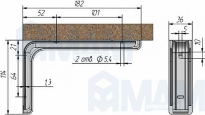KR180/N CORNER Менсолодержатель для деревянных полок с декоративной накладкой L-180 мм, хром (2 шт.)