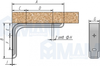 KR180BLACK CORNER Менсолодержатель для деревянных полок с декоративной накладкой L-180 мм, черный (2 шт.)