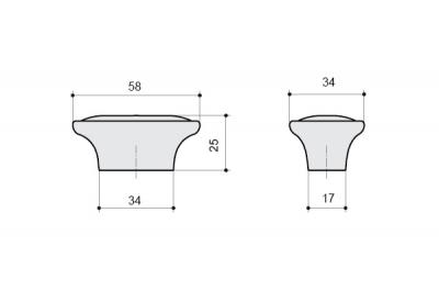 P18.01.69.15MM Ручка-кнопка, отделка серебро старое + керамика