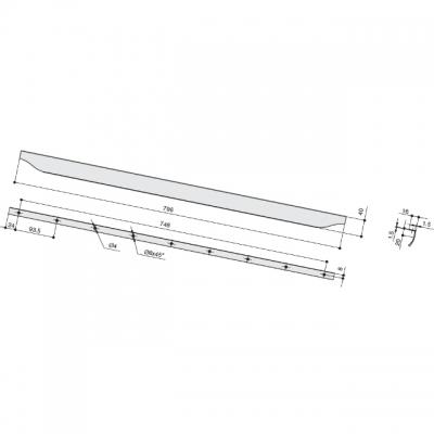 Ручка L.796мм, отделка сталь шлифованная 4205207966-66