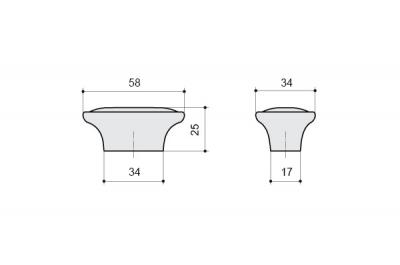 P18.19.174.15MM Ручка-кнопка, отделка серебро старое + керамика