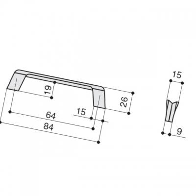 Ручка-скоба 64мм, отделка титан 8.1134.0064.0505