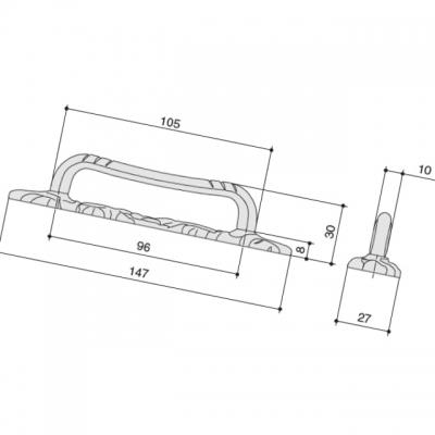 Ручка-скоба 96мм, отделка бронза античная французская 9.1359.0096.25
