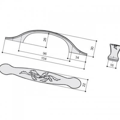 Ручка-скоба 96мм, отделка олово старое 6521/825