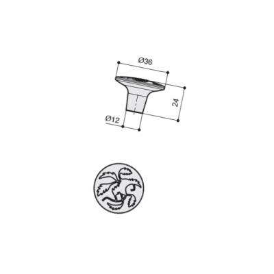 Ручка-кнопка d.36мм, отделка бронза античная 8521/831