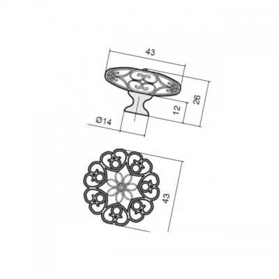 Ручка-кнопка, отделка никель + горный хрусталь MAK.594/NK/CRY