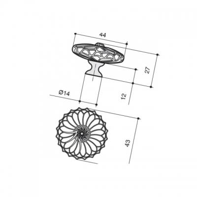 Ручка-кнопка, отделка никель + горный хрусталь MAK.590/NK/CRY