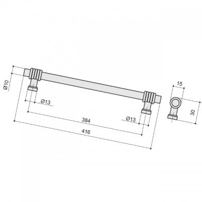 Ручка-скоба 384мм, отделка старая бронза 47106.22