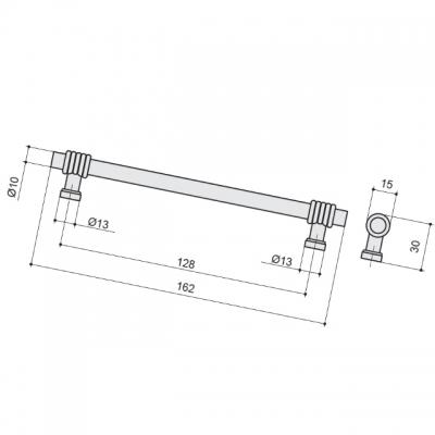 Ручка-скоба 128мм, отделка старая бронза 47101.22
