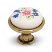 GP191AB/MLK Ручка-кнопка D28мм бронза состаренная/керамика цветы