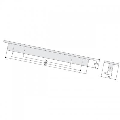 Ручка-скоба 736/896мм, сталь нержавеющая AB.001.736/896.SL