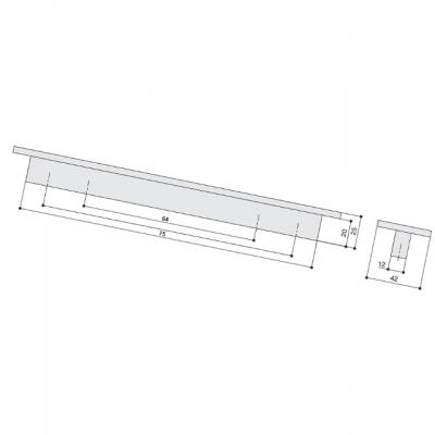 Ручка-скоба 64мм, сталь нержавеющая AB.001.064.SL