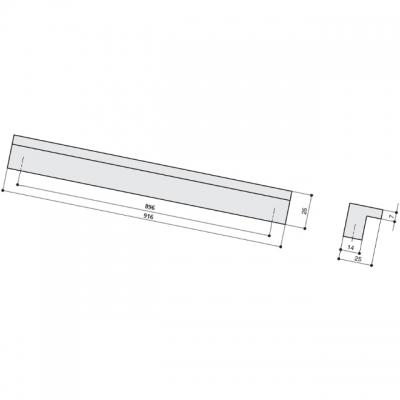 Ручка-скоба 896мм, сталь нержавеющая AB.005.896.SL