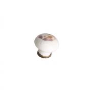 """Ручка-кнопка, отделка бронза античная + керамика """"коричневый цветок"""" 818.CV/03"""