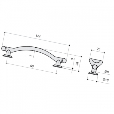 Ручка-скоба 96мм, отделка серебро старое U12499.B14M