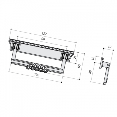 Ручка-скоба 96мм, серебро старое MC 06144Z09600.25