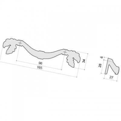 Ручка-скоба 96мм, отделка бронза металлик WMN.744X.096.M00G3