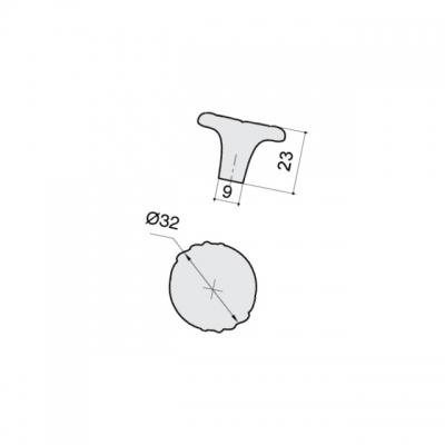 Ручка-кнопка, отделка молочная с золотой патиной WPO.744Y.000.M00V7