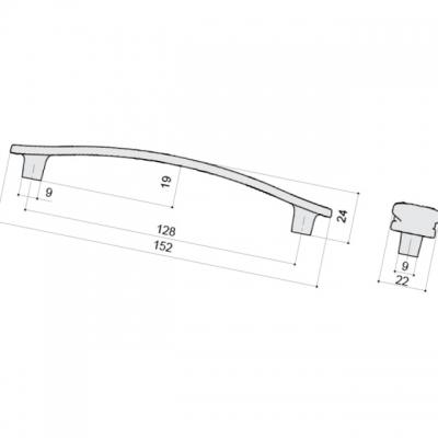 Ручка-скоба 128мм, отделка бронза металлик WMN.741X.128.M00G3