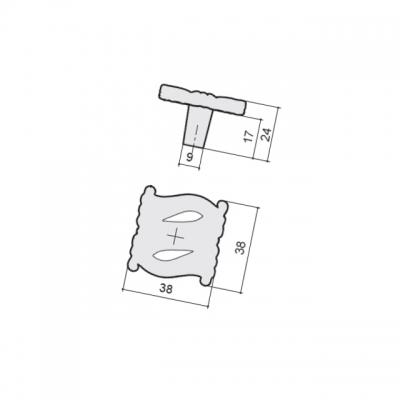 Ручка-кнопка, отделка молочная с золотой патиной WPO.741Y.000.M00V7