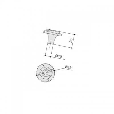 10.828.B17N Ручка-кнопка, отделка серебро античное
