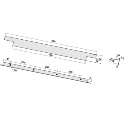 Ручка накладная 896мм (260/260/260), отделка сталь шлифованная 426620896-66