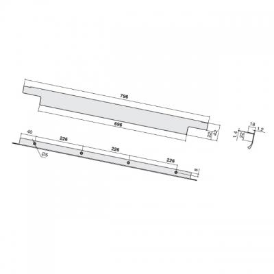 Ручка накладная 796мм (226/226/226), отделка сталь шлифованная 426620796-66