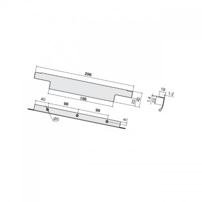 Ручка накладная 296мм (90/90), отделка сталь шлифованная 426620296-66