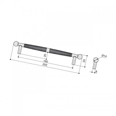 Ручка-скоба 160мм, отделка бронза античная темная S534060160-23