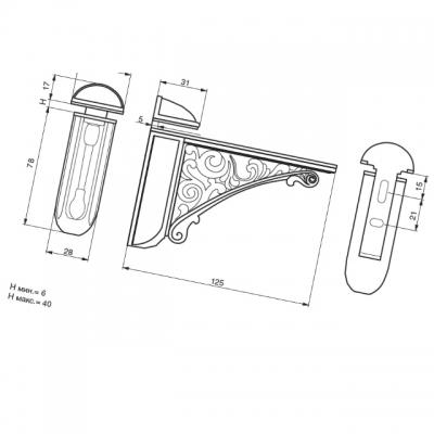 Менсолодержатель, отделка белый глянец 42430Z12500.F4