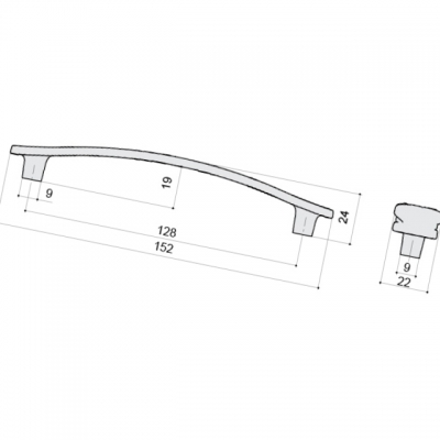 Ручка-скоба 128мм, отделка жемчуг WMN.741X.128.M00G4