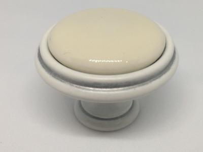 Ручка-кнопка D35мм белый/серебро винтаж керамика WPO.77.01.00.000.T4