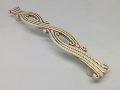 Ручка-скоба 128мм, отделка молочная с золотой патиной WMN.741X.128.M00V7